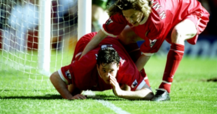 Robbie Fowler Snorting the Line Celebration