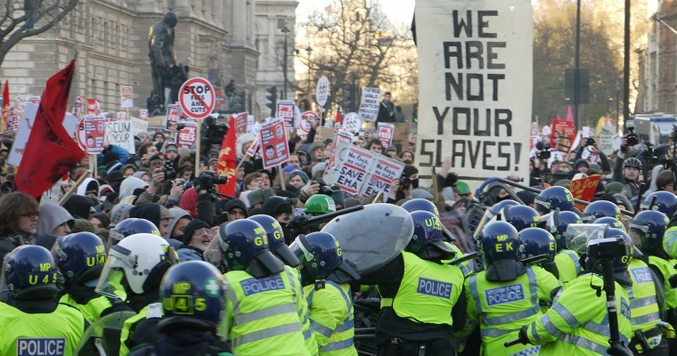 police lines protest uk