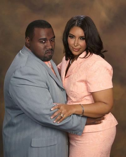 Fat Kanye West and Kim Kardashian
