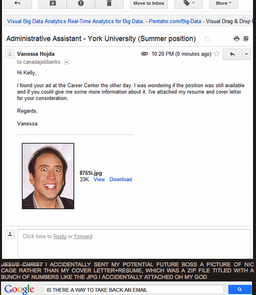 girl accidentally emails potential employer picture of nicolas cage instead of cv  u2013 sick chirpse