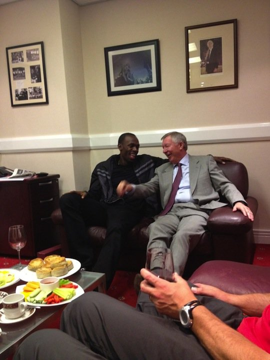 Usain Bolt Talking With Alex Ferguson