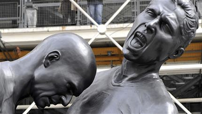 Zidane Statue Heads Close Up