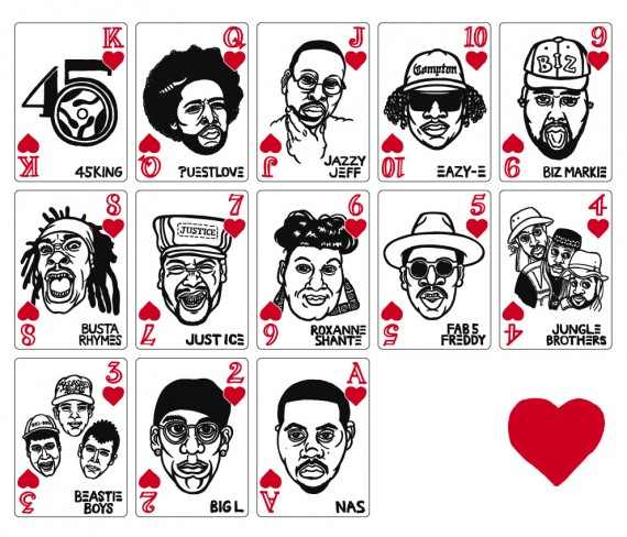 hip hop playing cards hearts