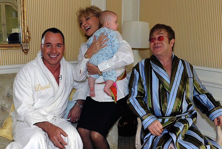 Elton John in a dressing gown