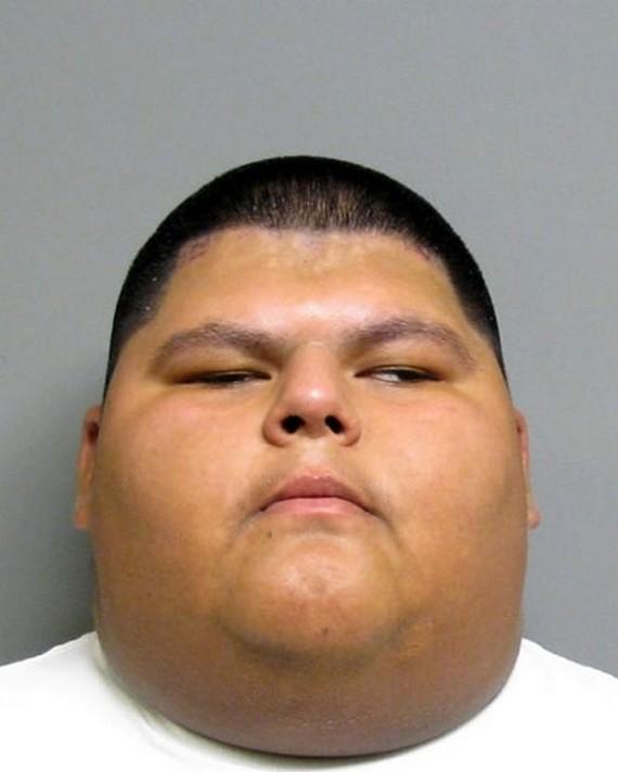 Man with half head mugshot business