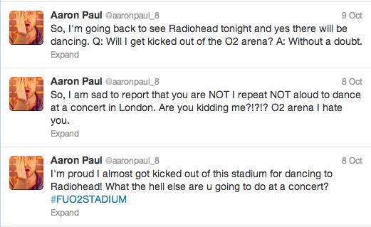 Aaron Paul Radiohead Tweets