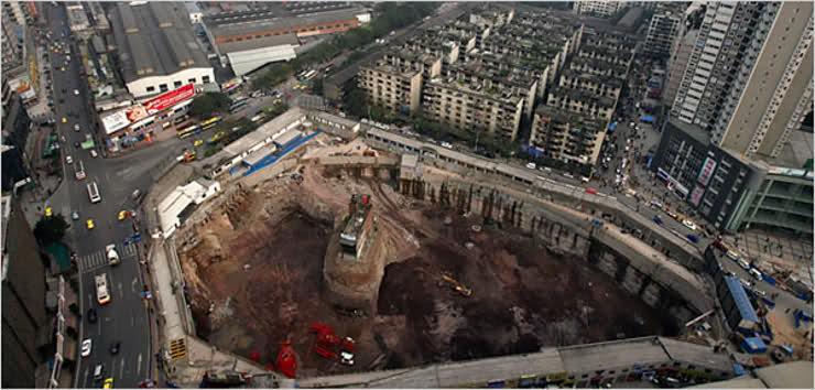 Chongqing Nail House Aerial View 2