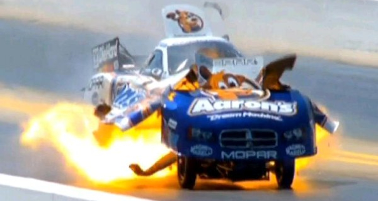 Professional Drag Car Racer's Car Explodes At Full Speed