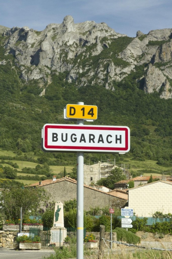 Bugarach Village Sign and Mountain
