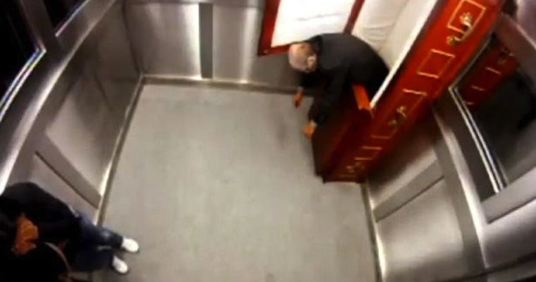 Extremely Scary Corpse Elevator Prank in Brazil