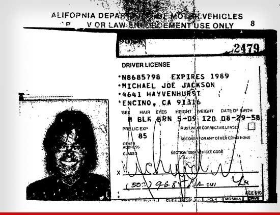Michael Jackson 80's Driving Licence