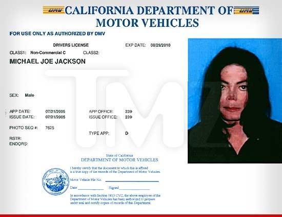 Michael Jackson Last Driving Licence
