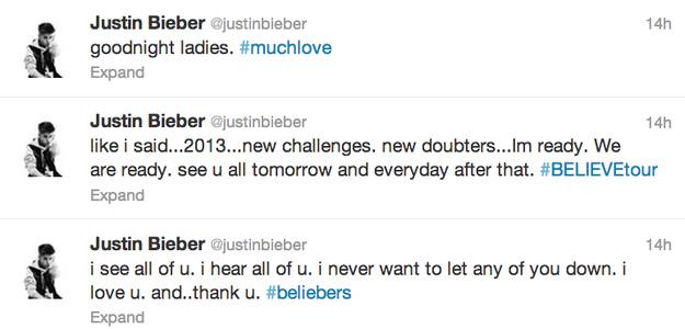 Justin Bieber Blunt Twitter Response