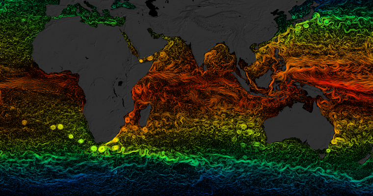 NASA Visualisation Ocean Current Temperatures
