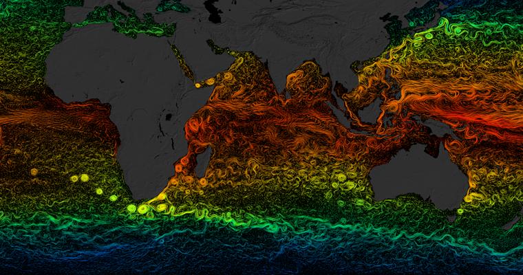 NASA Visualisation Ocean Current Temperatures