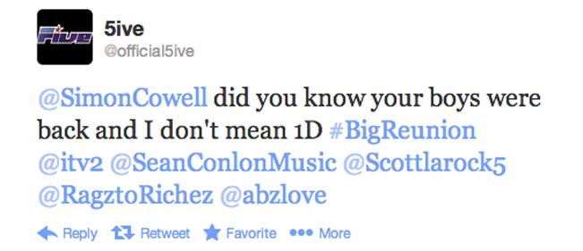 Los 5ive mendigándole algo de atención a Simon Cowell.