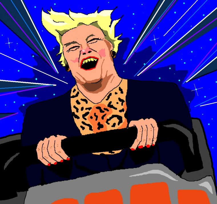Ann Widdecombe Riding Space Mountain
