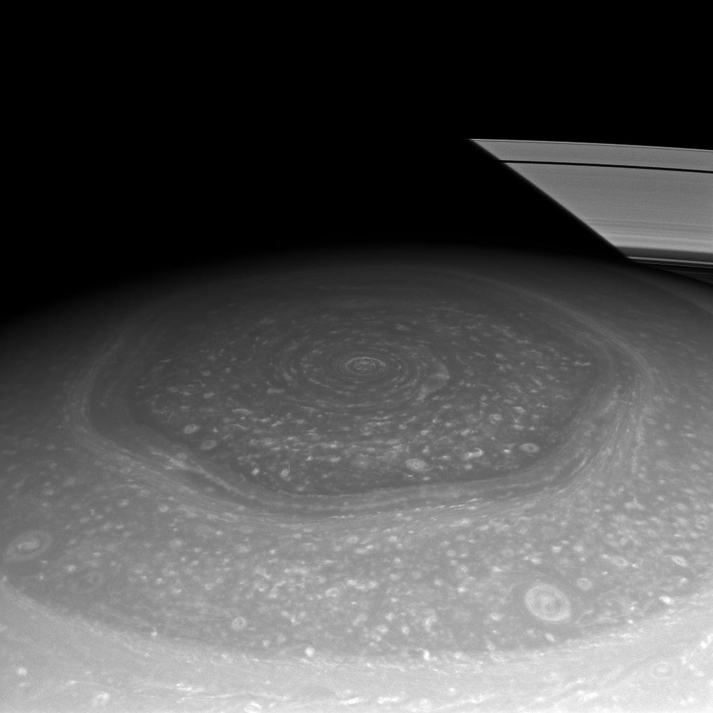 Saturn's hexagon storm