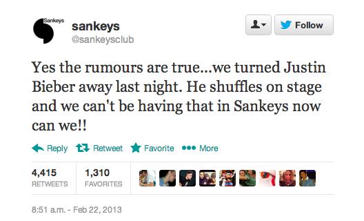 Sankeys Justin Bieber Tweet