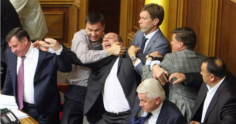 Ukranian Parliament Fight Dec 2012