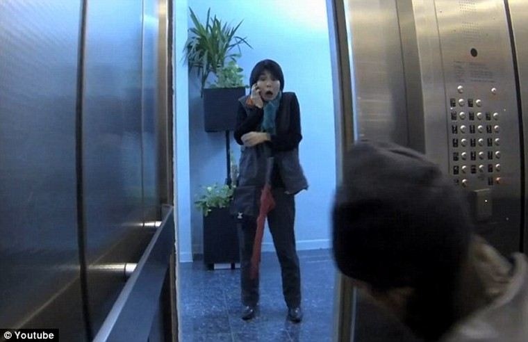 Elevator prank - would you jump in to stop a murder?