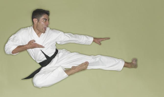 Karate Black Belt Leaping