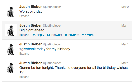 Justin Bieber Birthday Tweets