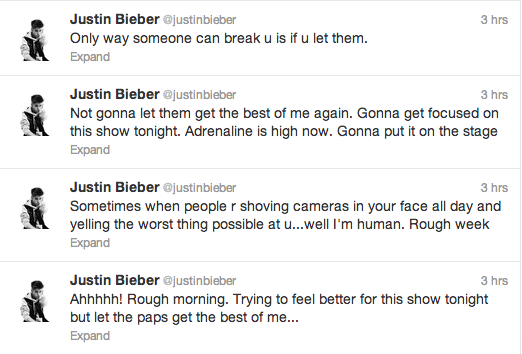 Justin Bieber Paparazzi Tweets