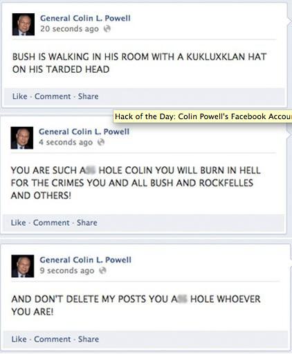 Colin Powell Facebook Hack 2