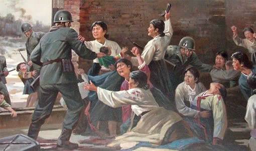 Anti American North Korean Poster - Family War Fight