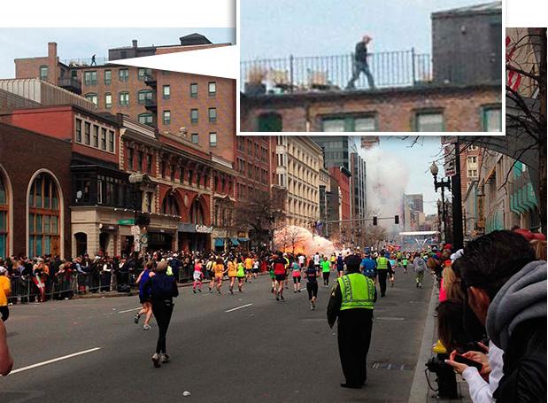 Boston Marathon Man On Roof