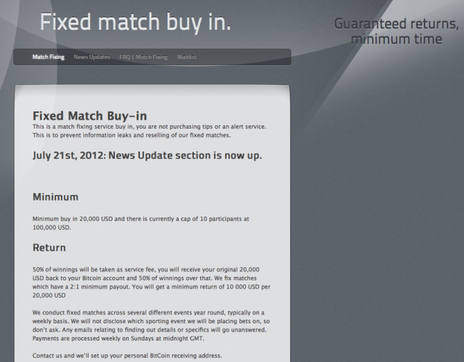fixed match buy in 1