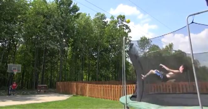 Insane Basketball Trampoline Shot