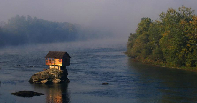 house in river