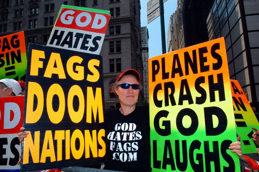 Members of the Westboro Baptist Church from Topeka Kansas demonstrate against homosexuality