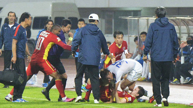 Chinese Player Sent Off For Dragging Player Off Pitch