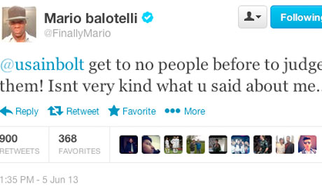 Mario Balotelli tweets at Usain Bolt