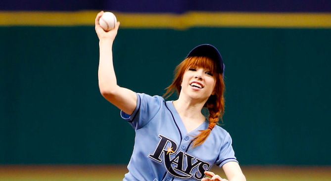 Carly Rae Jepsen Baseball Pitch