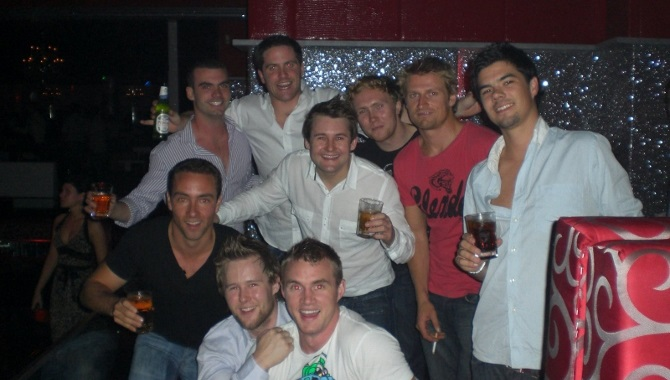 Group Of Blokes In Club