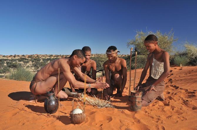 San Bushmen making a fire