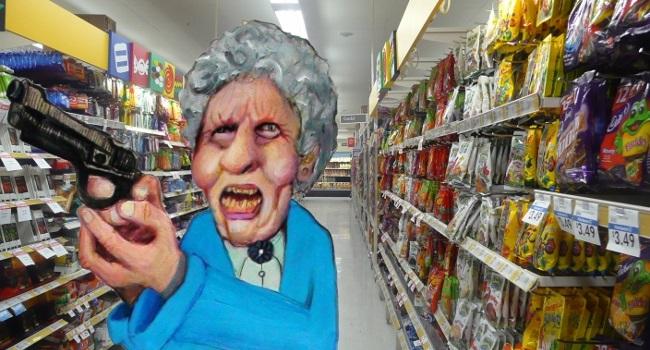 Granny In Gun In Supermarket