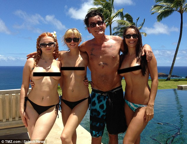 charlie sheen with three topless girls