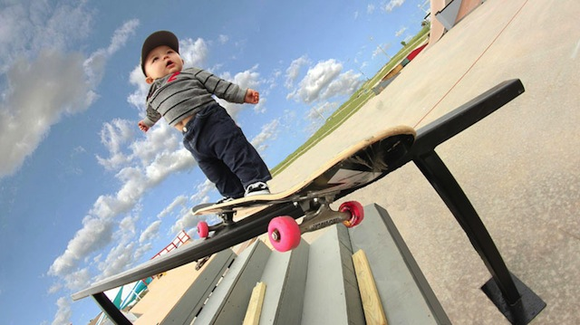 Baby on skateboard