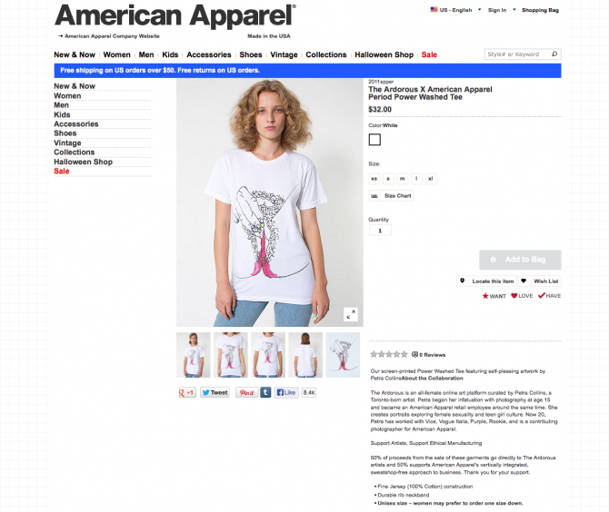 American Apparel T-shirt Vagina