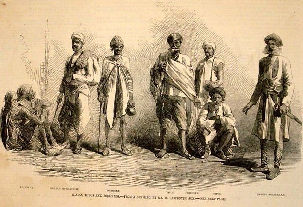 Thuggee - India - Group of Thugs - Early 19th Century Drawing prison