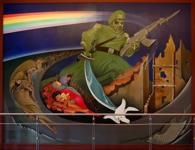 Denver International Airport Conspiracy - Art - Gas Mask Dove Sword