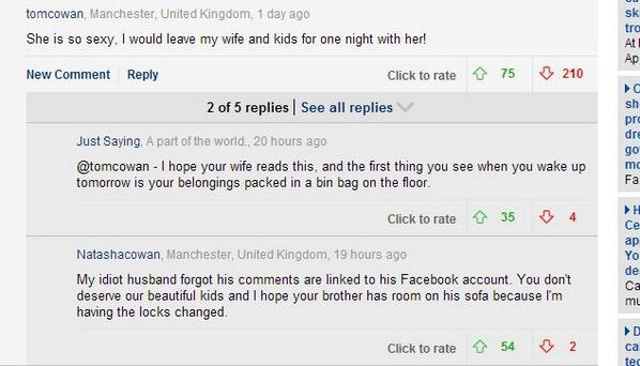 Husband Kicked Out Over Internet Comment