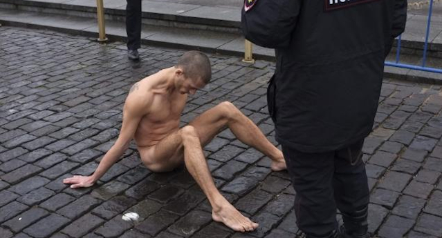 Russian Man Nails Testicles To Pavement