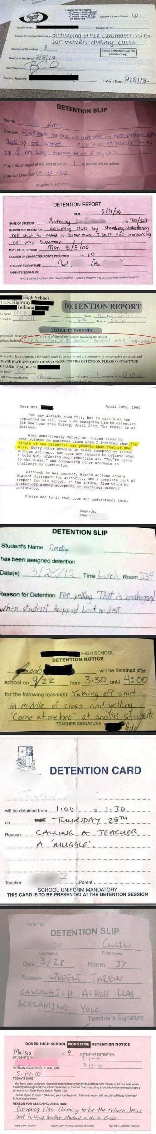 Detention Slips