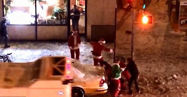 Drunken Santacon Brawl NYC